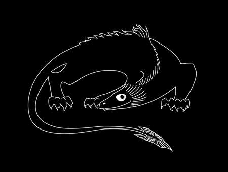 Stylized fantastic dragon. White outline vector image on black background. Sketch style, graphic image.