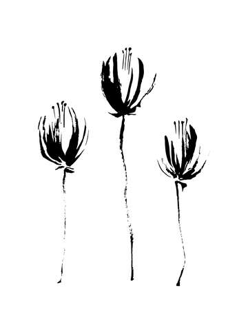 Three vector black hand drawn grunge flowers. Stylized decorative silhouette painted by ink. Isolated on white background. Illustration