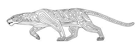 Decoratieve gestileerde panter wilde kat. Vector wilde dieren illustratie. Geïsoleerd op witte achtergrond