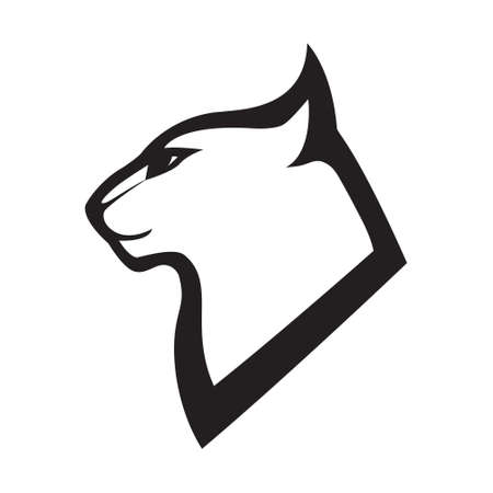 Head profile of cat. Stylized vector emblem . Black image on white background, vector isolated.