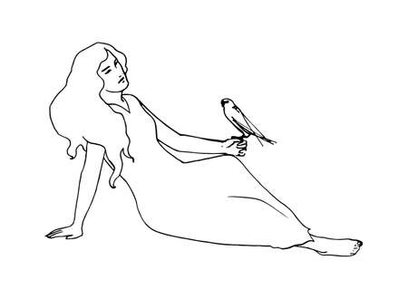 Young girl in a long dress sitting on the ground with a bird on her hand. Retro vector outline illustration. Sketch style. Ilustração