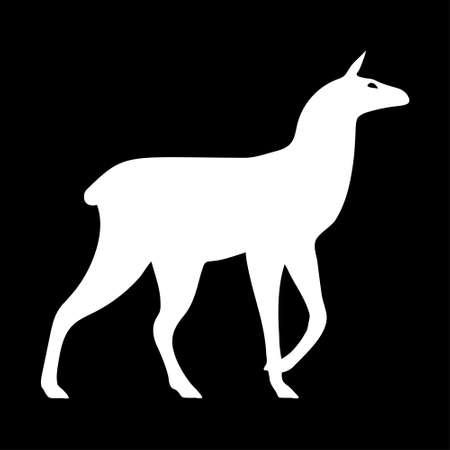 White llama silhouette.