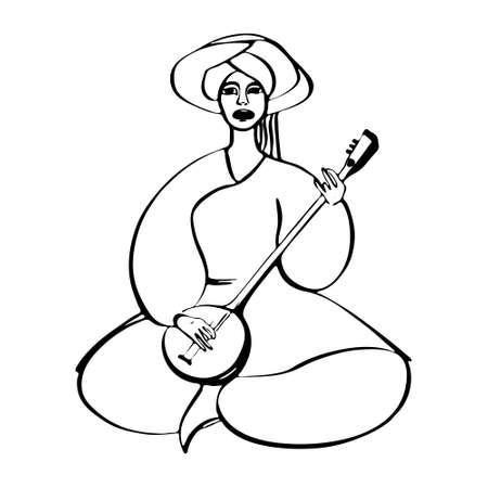 Femme en costume traditionnel, chanter et jouer sur l'illustration vectorielle de l'instrument de musique ethnique. Banque d'images - 92850406