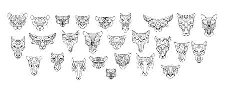 Set of hand drawn face masks of animals. Vector doodle illustration with predators. Black outline isolated elements for design on white background.