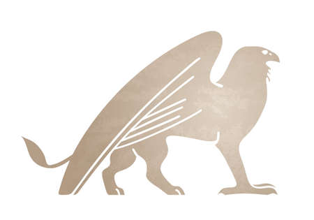 Silhouette of griffin. Stylized tattoo, graphic image. Vector illustration of mythical creature. Isolated on white background.