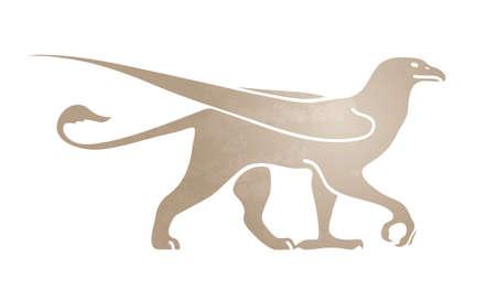 Silhouette de griffon. Image stylisée pour logo ou mascotte. Illustration vectorielle de créature mythique. Isolé sur fond blanc. Banque d'images - 95660784
