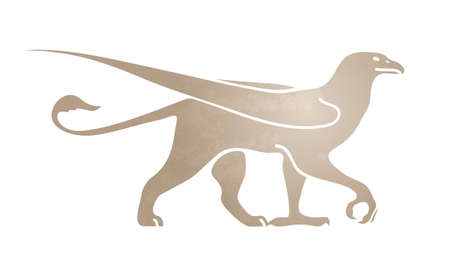 Silhouette of griffin. Stylized image for logo or mascot. Vector illustration of mythical creature. Isolated on white background.