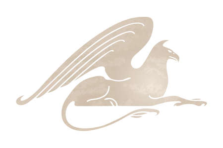 Silhouette of griffin. Stylized gryphon image. Vector illustration of mythical creature. Isolated on white background.