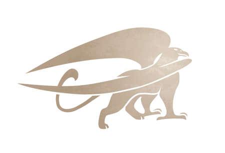 Silhouette de griffon. Image de griffonnage de vecteur de créature mythique. Isolé sur fond blanc. Banque d'images - 95660788
