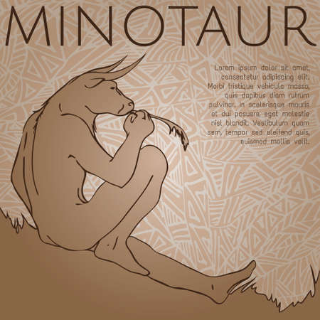 Minotaur. Greek mythical creature part man and part bull. Vector illustration.