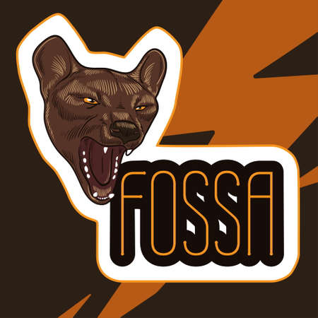 Poster with head of aggressive fossa. Vector illustration.