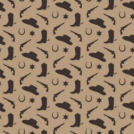 Wild west vector seamless pattern. Cowboy male background with silhouette of boot, hat, horseshoe, sheriff badge, gun. Иллюстрация