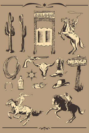 Wild west vector set. Hand drawn illustration with silhouette of cowboy, horse, horseshoe, sheriff badge, boot, hat, gun, lasso for cowboy paty.