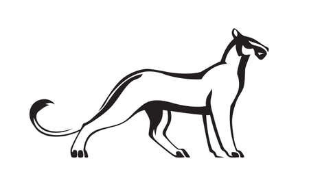 Black stylized silhouette of panther. Vector wildcat illustration. Animal isolated on white background as logo or mascot.