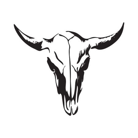 Hand drawn bison skull. Buffalo cranium vector illustration. Black isolated on white background.  Иллюстрация