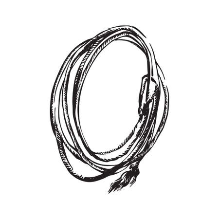 Hand drawn lasso rope. Rodeo cowboy props vector illustration. Black isolated on white background.