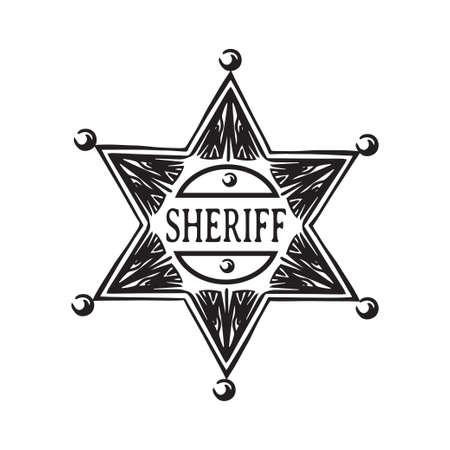 Estrella de sheriff dibujada a mano. Ilustración de vector de insignia del viejo salvaje oeste. Negro aislado sobre fondo blanco. Ilustración de vector