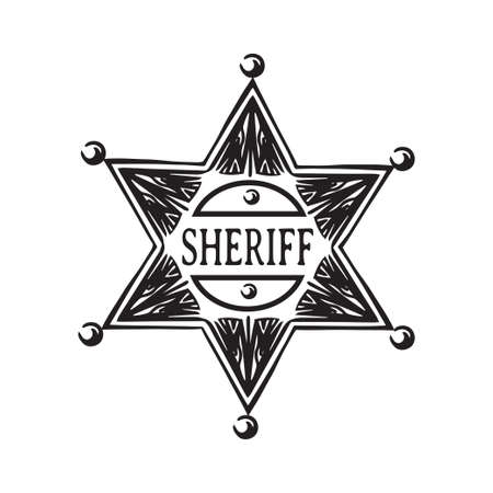 Hand drawn sheriff star. Old wild west badge vector illustration. Black isolated on white background.  Vettoriali