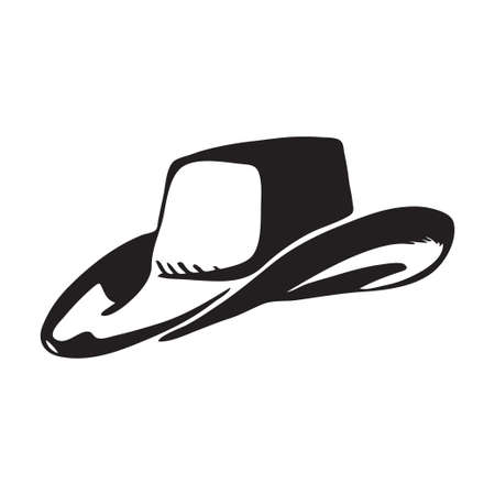 Hand drawn cowboy hat. Vector illustration of headgear traditionally worn by rangers and farmers. Black isolated on white background.