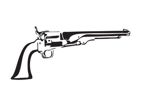 Hand drawn vintage revolver. Wild west gun vector illustration. Black isolated on white background.