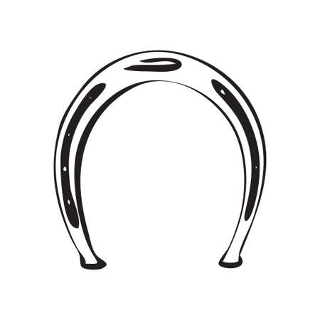 Hand drawn horseshoe. Retro horse metal shoe vector illustration. Black isolated on white background.  Иллюстрация