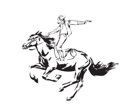 Hand drawn man with revolver riding horse. Wild west cowboy chase vector illustration. Black isolated on white background.