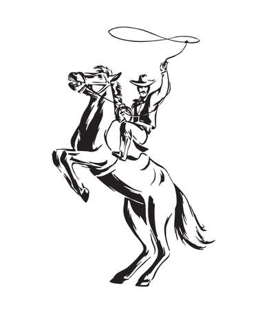 Hand drawn cowboy with lasso on rearing horse. Rodeo vector illustration. Black isolated on white background.  矢量图像