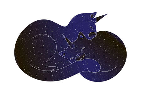 Cute mother cat unicorn and baby caticorn sleeping. Vector line animal illustration, night sky color silhouette isolated on white background.