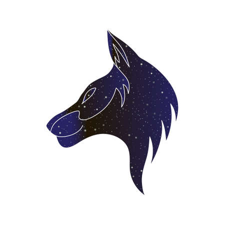 Wolf, coyote or dog stylized head. Vector line canine animal illustration, night sky color silhouette isolated on white background. Illustration