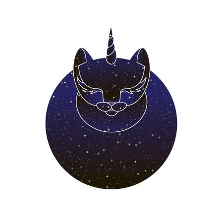 Magic circle cat unicorn. Vector line round caticorn animal illustration, night sky color silhouette isolated on white background.