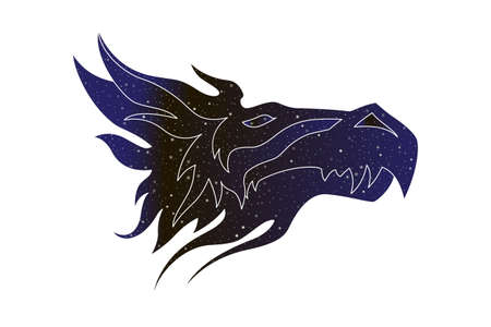 Fantastic dragon stylized head. Vector line magic animal illustration, night sky color silhouette isolated on white background. Illustration