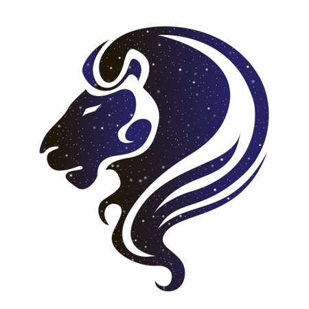 Lion head illustration. Vector animal, magic night sky color silhouette isolated on white background.