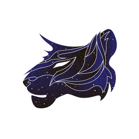 Stylized outline wildcat head. Vector line animal illustration, night sky color silhouette isolated on white background.