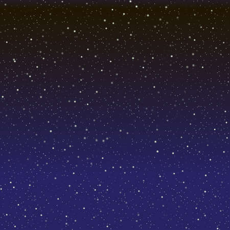 Night sky with stars, vector space starry background, dark blue gradient cosmos illustration.