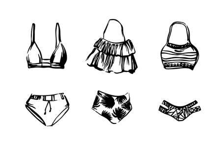 Set of hand drawn swimwear bikini. Vector sketch black isolated illustration on white background. Beachwear for women painted by ink.