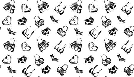 Seamless pattern with hand drawn swimwear bikini. Vector endless sketch black illustration on white background. Beachwear for women painted by ink.