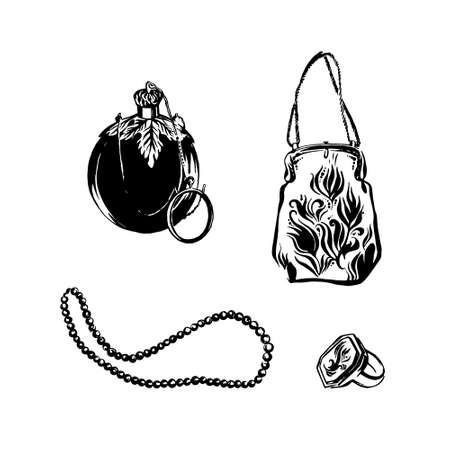 Conjunto de dibujado a mano de accesorios de moda antiguos. Frasco de perfume vintage, bolso de estilo victoriano, collar y anillo de cuentas retro. Dibuje la ilustración aislada en negro sobre fondo blanco.