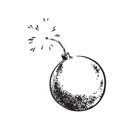 Hand drawn sketch bomb. Vintage retro style. Vector black ink drawing illustration isolated on white background.