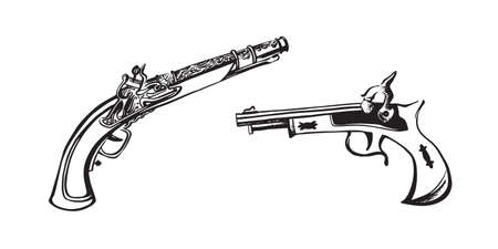 Hand drawn vintage gun. Retro revolver, pistol. Hand drawn sketch illustration. Vector black ink drawing isolated on white background. Foto de archivo - 120446642