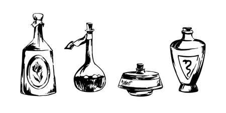 Dibujado a mano ilustración de dibujo de botellas de poción. Dibujo de tinta negra vectorial aislado sobre fondo blanco. Estilo grunge.