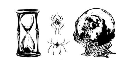 Hand drawn magic ball, hourglass and spiders sketch illustration. Vector black ink drawing isolated on white background. Grunge style.