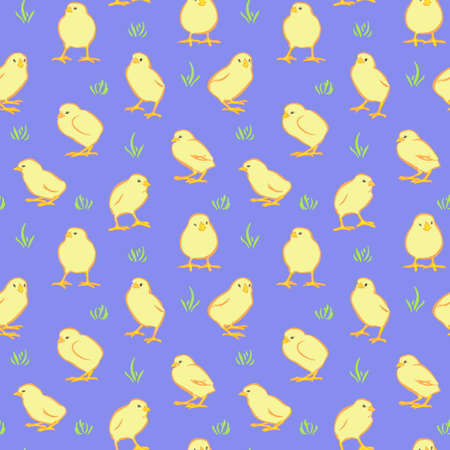 Happy Easter day seamless background. Vector cute yellow chickens on blue background. Decorative hand drawn chicks pattern, cartoon style.  イラスト・ベクター素材
