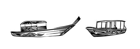 Traditional asian wooden boats. Hand drawn outline sketch. Vector black ink drawing isolated on white background. Graphic illustration.