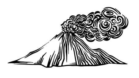 Handgezeichnete Vulkanausbruch Umrissskizze. Vektorzeichnung mit schwarzer Tinte isoliert auf weißem Hintergrund. Grafische Darstellung.