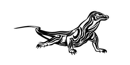 Drago di Komodo disegnato a mano. Lucertola del disegno dell'inchiostro nero di vettore isolata su priorità bassa bianca. Illustrazione grafica degli animali.