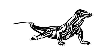 Hand drawn Komodo dragon. Vector black ink drawing lizard isolated on white background. Graphic animal illustration.
