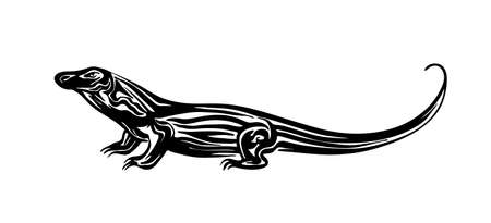 Hand drawn Komodo dragon. Vector black ink drawing largest lizard isolated on white background. Graphic animal illustration. Vector Illustration