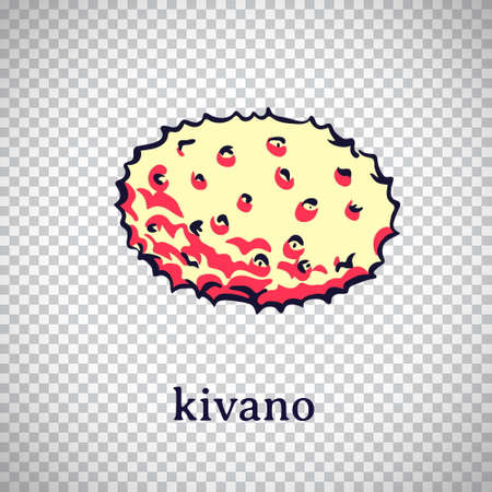 Hand drawn stylized kivano. Vector fruit isolated on transparent background. Graphic illustration for logo or icon.