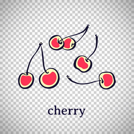 Hand drawn stylized cherry. Vector fruit isolated on transparent background. Graphic illustration for logo or icon.