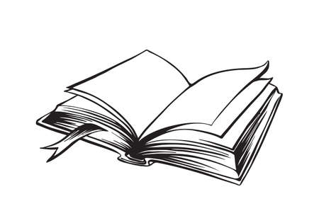 Hand drawn open book outline sketch. Vector vintage black ink drawing isolated on white background. Graphic illustration.